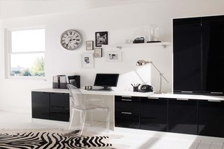 Fitted Office White & Liquorice High Sheen