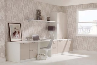 Fitted Office White & Mushroom High Sheen